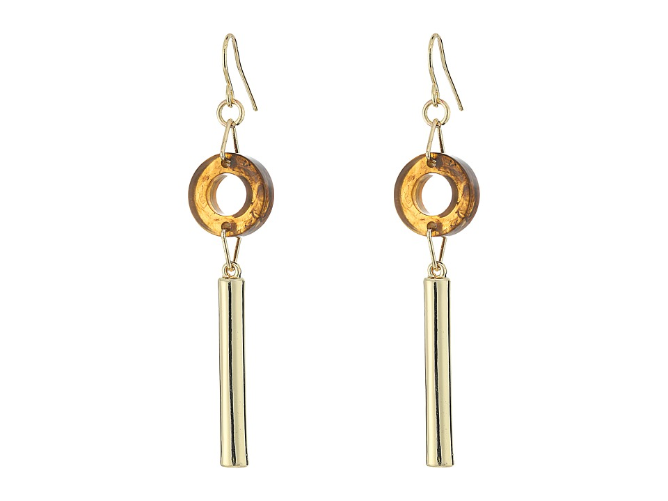 French Connection - Circle Disc Tube Linear French Wire Earrings (Gold / Tortoise) Earring