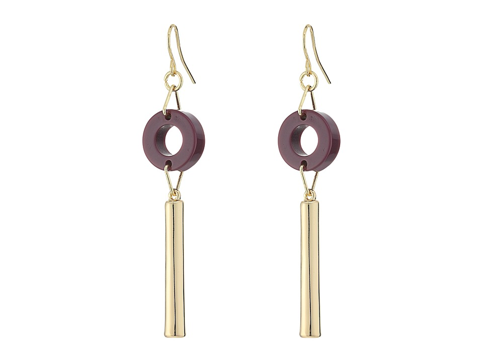 French Connection - Circle Disc Tube Linear French Wire Earrings (Gold / Dark Magenta) Earring