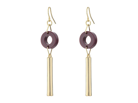 French Connection Circle Disc Tube Linear French Wire Earrings - Gold/Dark Magenta