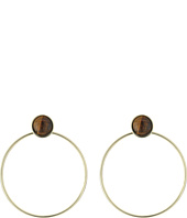 French Connection - Large Stone Gypsy Hoop Earrings