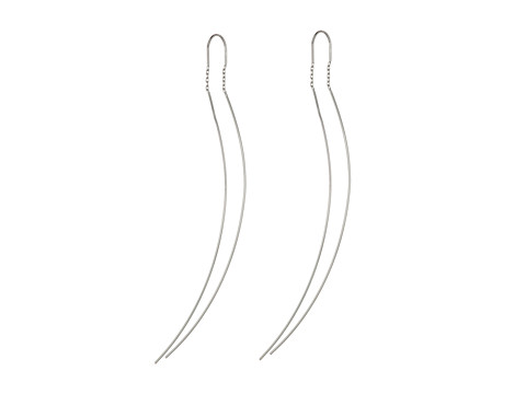 French Connection Delicate Tube Earrings Threader - Silver