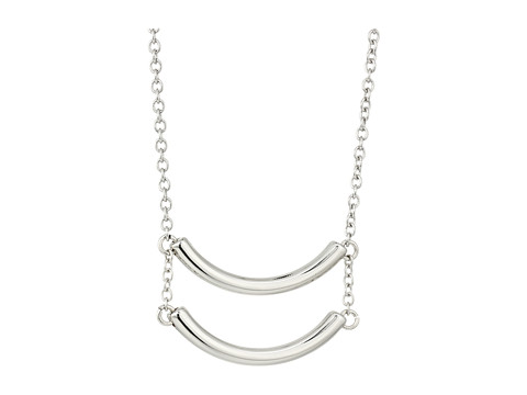 French Connection Double Curved Tube Pendant Necklace - Silver