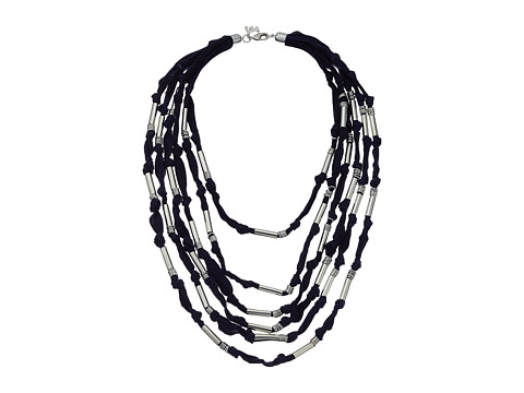 French Connection Tube and Jump Ring Detail Multi Grosgrain Fabric Statement Necklace - Silver/Indigo