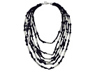 French Connection Tube and Jump Ring Detail Multi Grosgrain Fabric Statement Necklace
