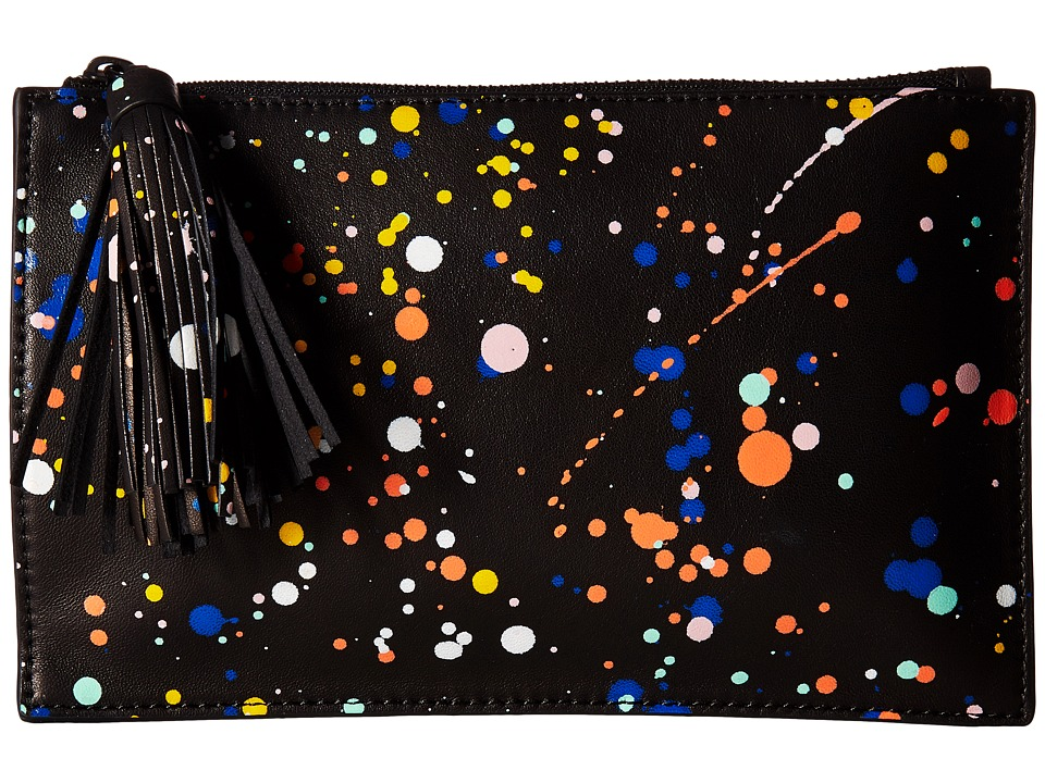 Loeffler Randall Flat Pouch (Black Multi Splatter) Clutch Handbags