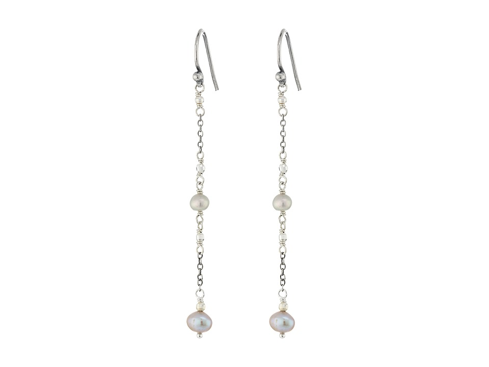 Chan Luu - Sterling Silver Earrings with Grey Pearl Drop (Grey) Earring
