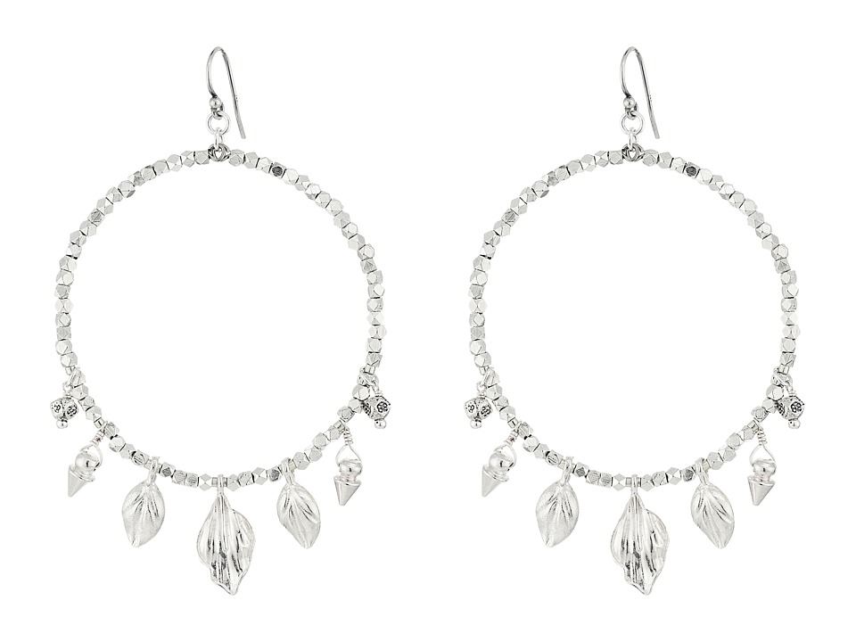 Chan Luu - Base Metal Hoop with Daggers and Leaf Charms Earrings (Silver) Earring