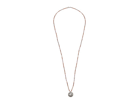 Chan Luu 29 Necklace with Sterling Silver Coin Pendant with Seed Beads - Rose Gold Mix