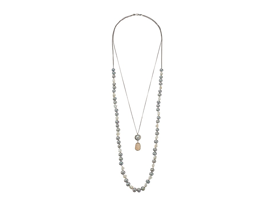 Chan Luu - 29' Double Strand Necklace with Fresh Water Pearls and White Agate Pendant (Grey Mix) Necklace
