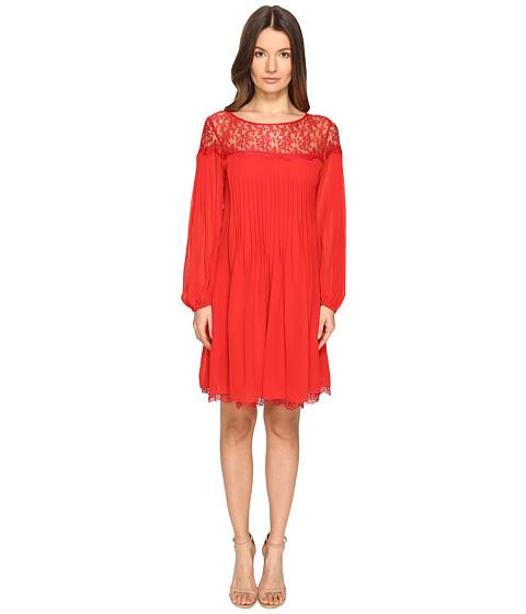 The Kooples Chiffon & Lace Long Sleeve Dress