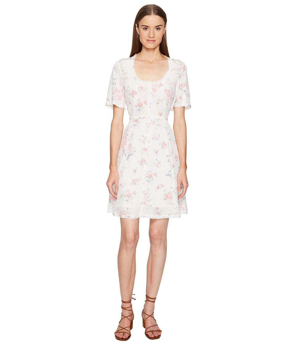 The Kooples Vintage Flowers on Silk Crepe de Chine Short Sleeve Tea Dress (White) Women