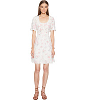 The Kooples - Vintage Flowers on Silk Crepe de Chine Short Sleeve Tea Dress