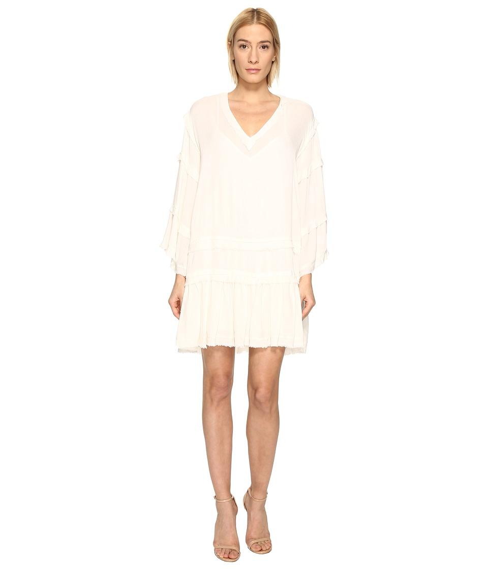 The Kooples Sport Crinkle Viscose Long Sleeve Dress (Ecru) Women