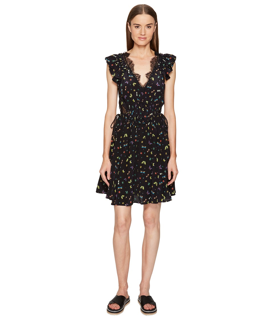 The Kooples Ladybird Print on Silk Crepe de Chine Short Sleeve Dress (Black) Women