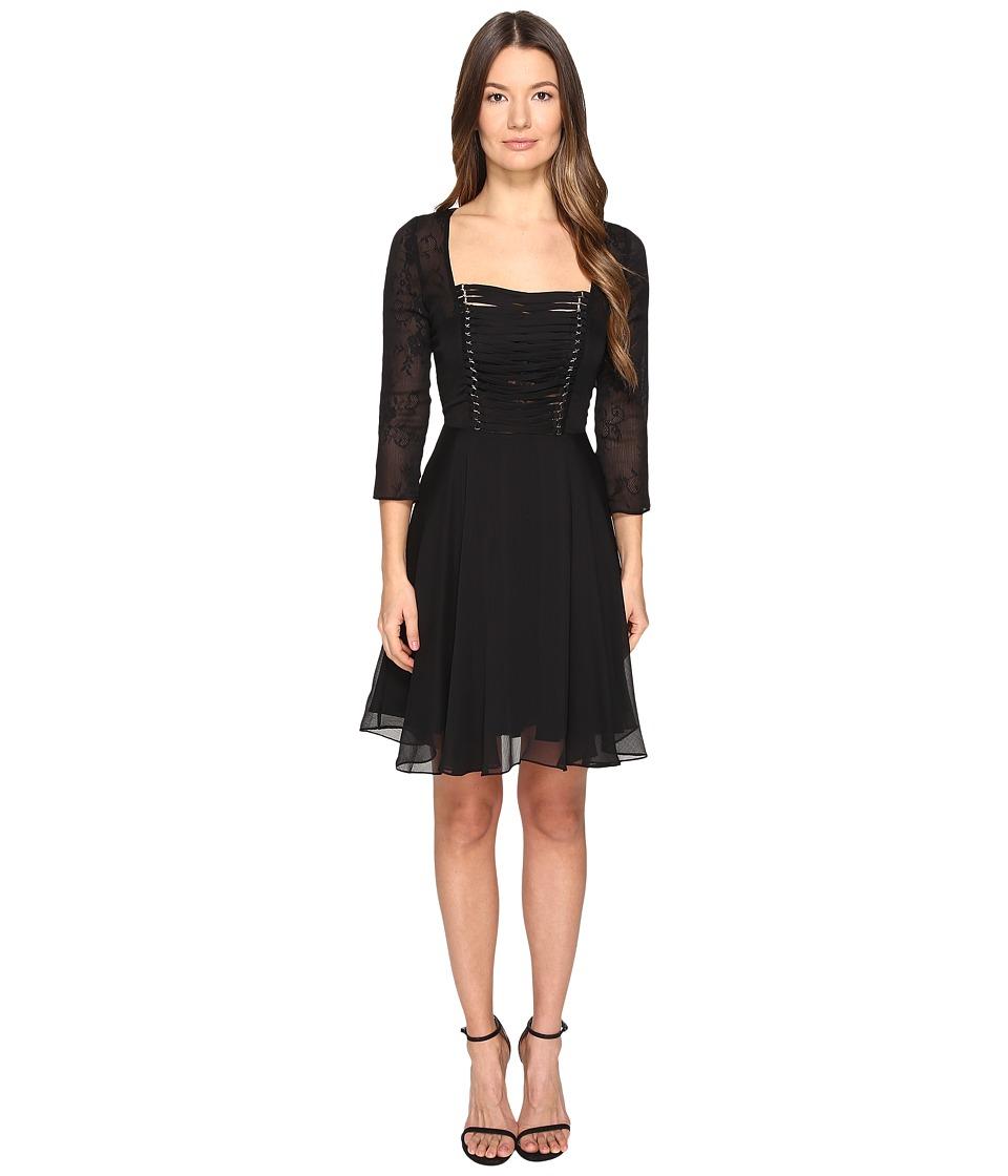 The Kooples Chiffon Lacing 3/4 Sleeve Dress (Black) Women