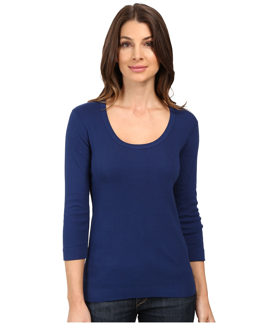 Three Dots - 3/4 Sleeve Scoop Neck (Blue Depths) Women