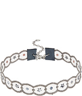 Chan Luu - Adjustable Scalloped Grey Lace Choker with Swavorski Crystals Necklace