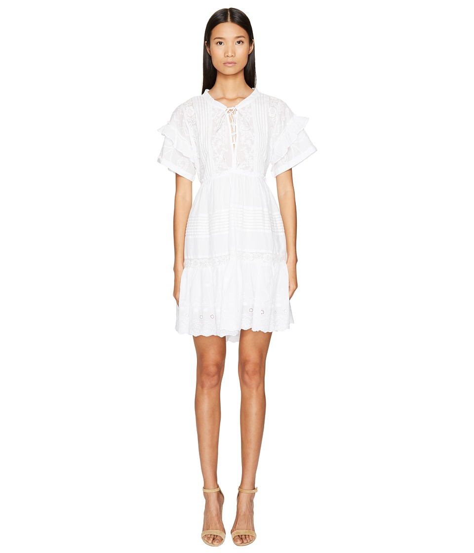 The Kooples Overdyed Embroidery 3/4 Sleeve Maxi (White) Women