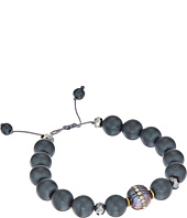 Chan Luu - Single Strand Adjustable Bracelet with Grey Pearls with Crystal Inlay