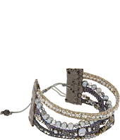 Chan Luu - 7' Multi Strand Grey Mix Single with Fresh Water Pearls, Swarovski Crystals and Nylon Cord Bracelet