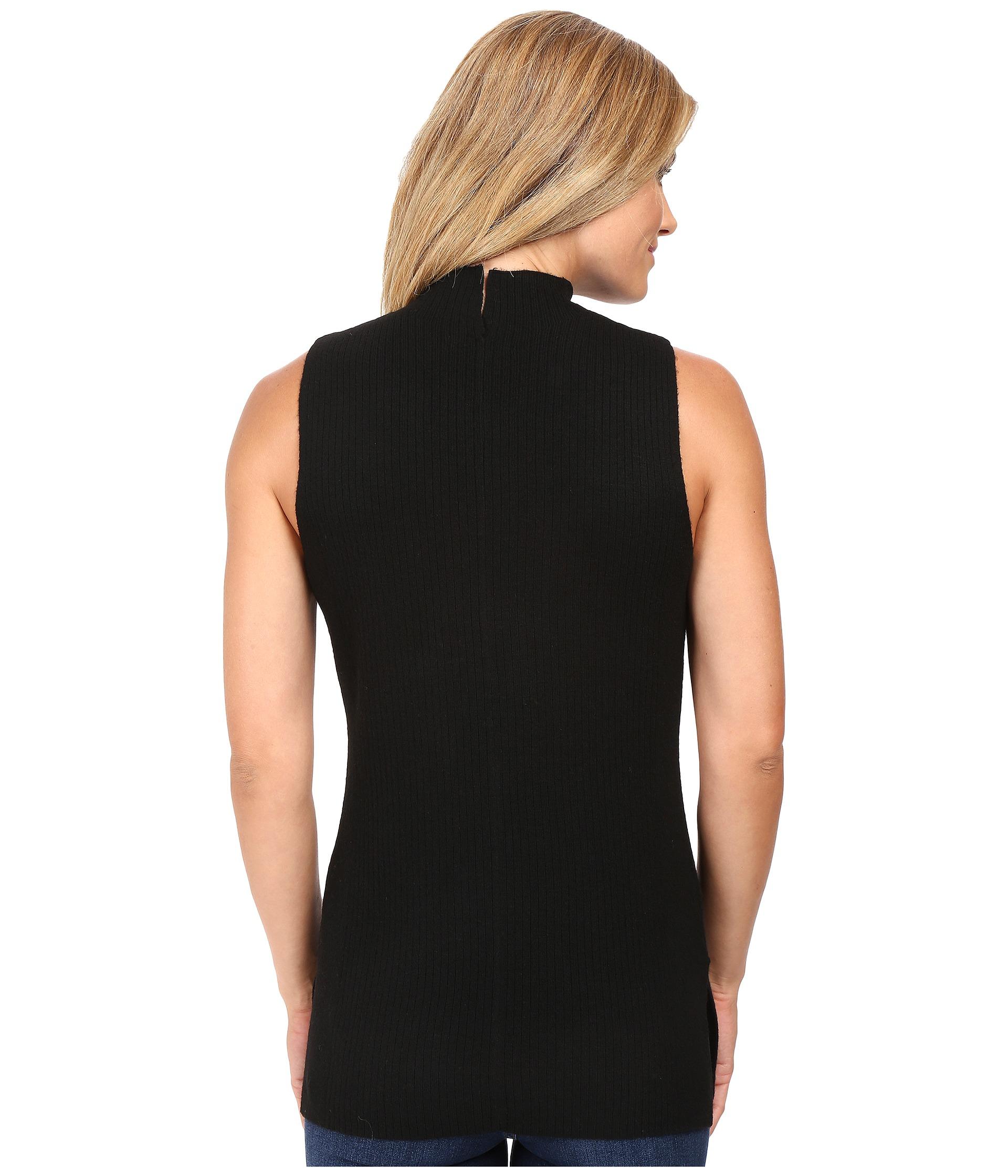 calvin klein sleeveless mock neck sweater black zappos. Black Bedroom Furniture Sets. Home Design Ideas