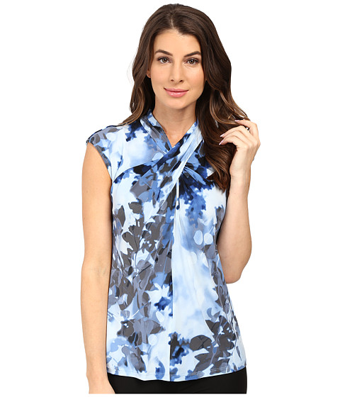 Calvin Klein - Sleeveless Printed Top w/ Knot Neck (Charcoal/Cool Multi) Women's Sleeveless