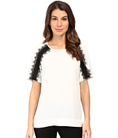 Calvin Klein - Short Sleeve Top w/ Lace Shoulder