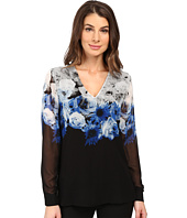 Calvin Klein - Printed High-Low V-Neck Top