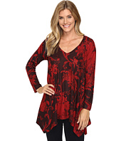 Nally & Millie - Red Floral Print Shark Bite Tunic