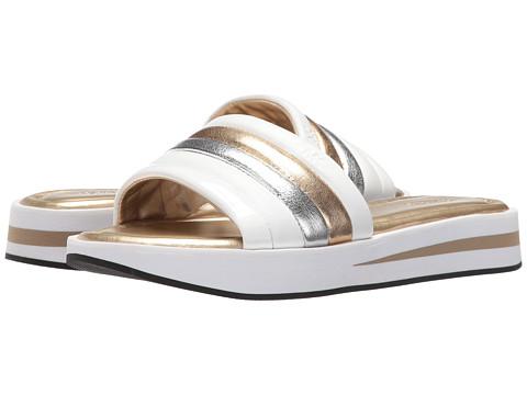 MICHAEL Michael Kors Conrad Slide - Pale Gold/White Nappa/Metallic Nappa/Patent