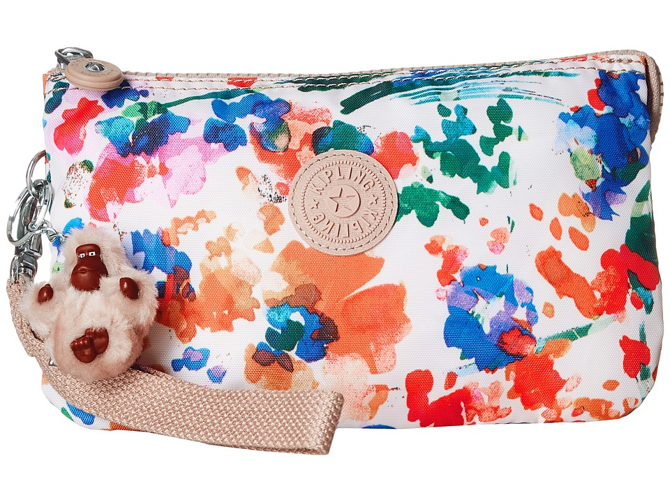 Kipling - Creativity XL Printed Pouch (Floral Night Natural) Clutch Handbags