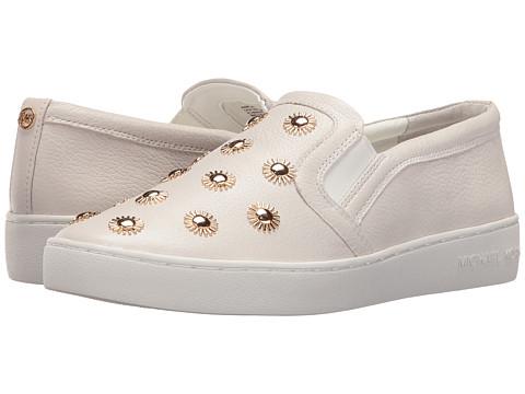 MICHAEL Michael Kors Leo Slip-On - Optic White Tumbled Leather/Starburst Studs