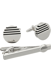 Stacy Adams - Set Cuff/Tie Bar Circle with Half Striped in Black