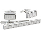 Stacy Adams Silver with Textured Silver Inlay Set
