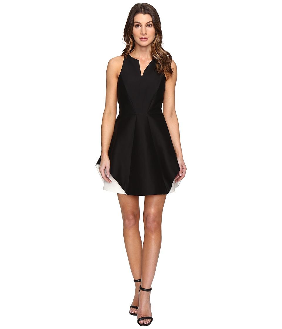 Halston Heritage Sleeveless Organic Notch Neck Color Blocked Dress (Black/Chalk) Women