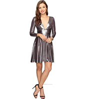 Halston Heritage - Long Sleeve V-Neck Draped Waist Metallic Jersey Dress