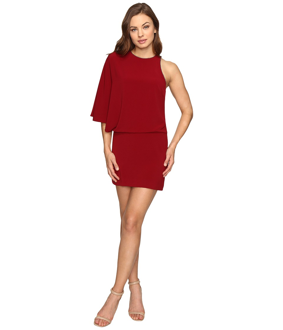 Halston Heritage Asymmetrical Boat Neck Mini Dress w/ Back Drape (Dahlia) Women