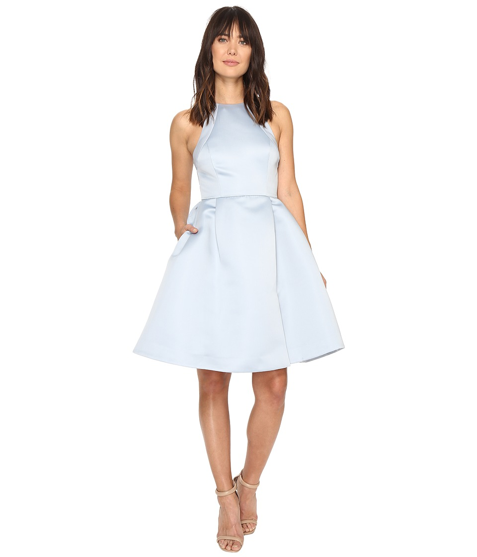 Halston Heritage Sleeveless Round Neck Satin Faille Dress w/ Back Cut Out (Slate Grey) Women