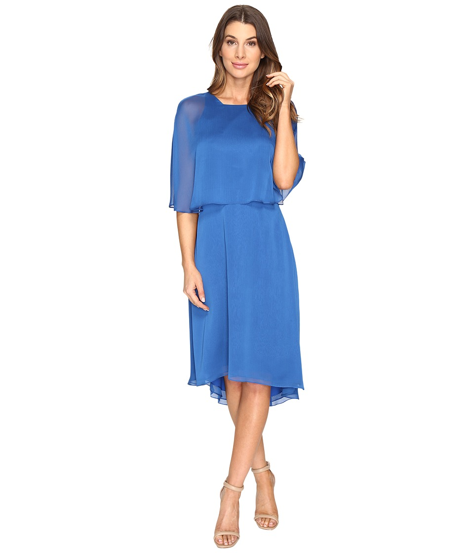 Halston Heritage Short Sleeve Round Neck Dress w/ Back Cut Out Sash (Lapis) Women