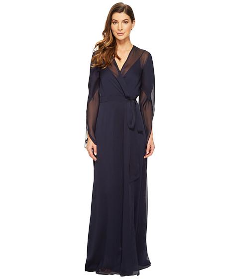 Halston Heritage Long Sleeve Deep V-Neck Flowy Gown w/ Sash - Dark Navy