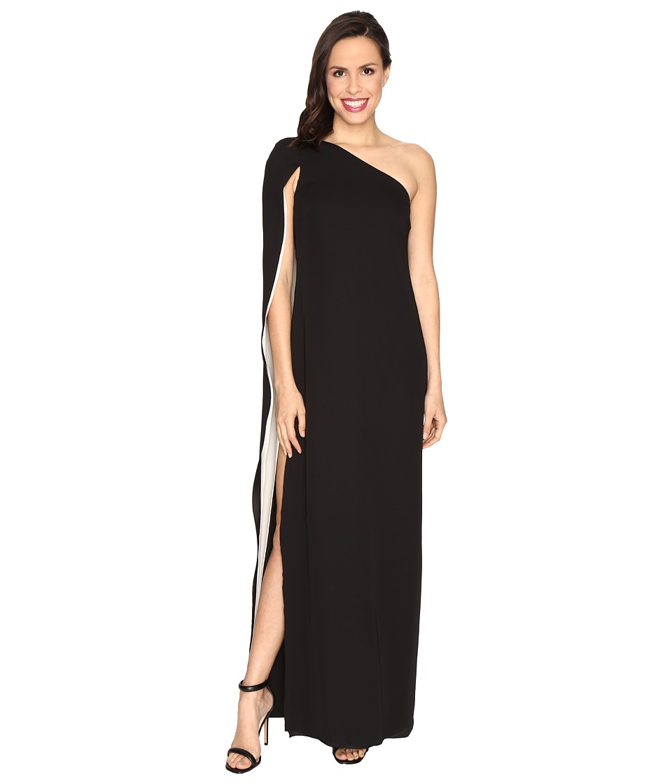 Halston Heritage One Shoulder Column Gown w/ Cape (Black/Champagne) Women