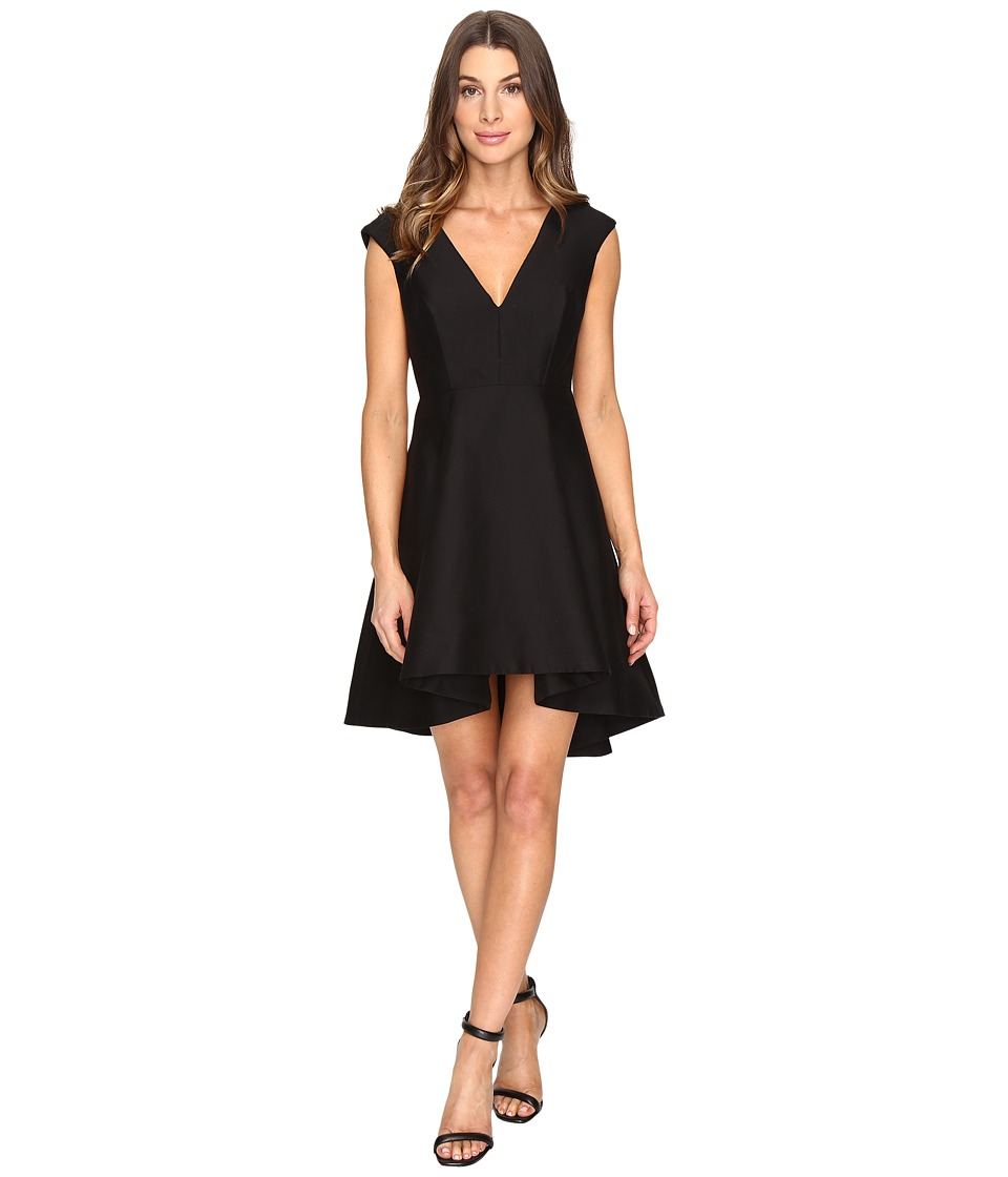 Halston Heritage Cap Sleeve V-Neck Structured Dress with Hi-Lo Skirt (Black) Women