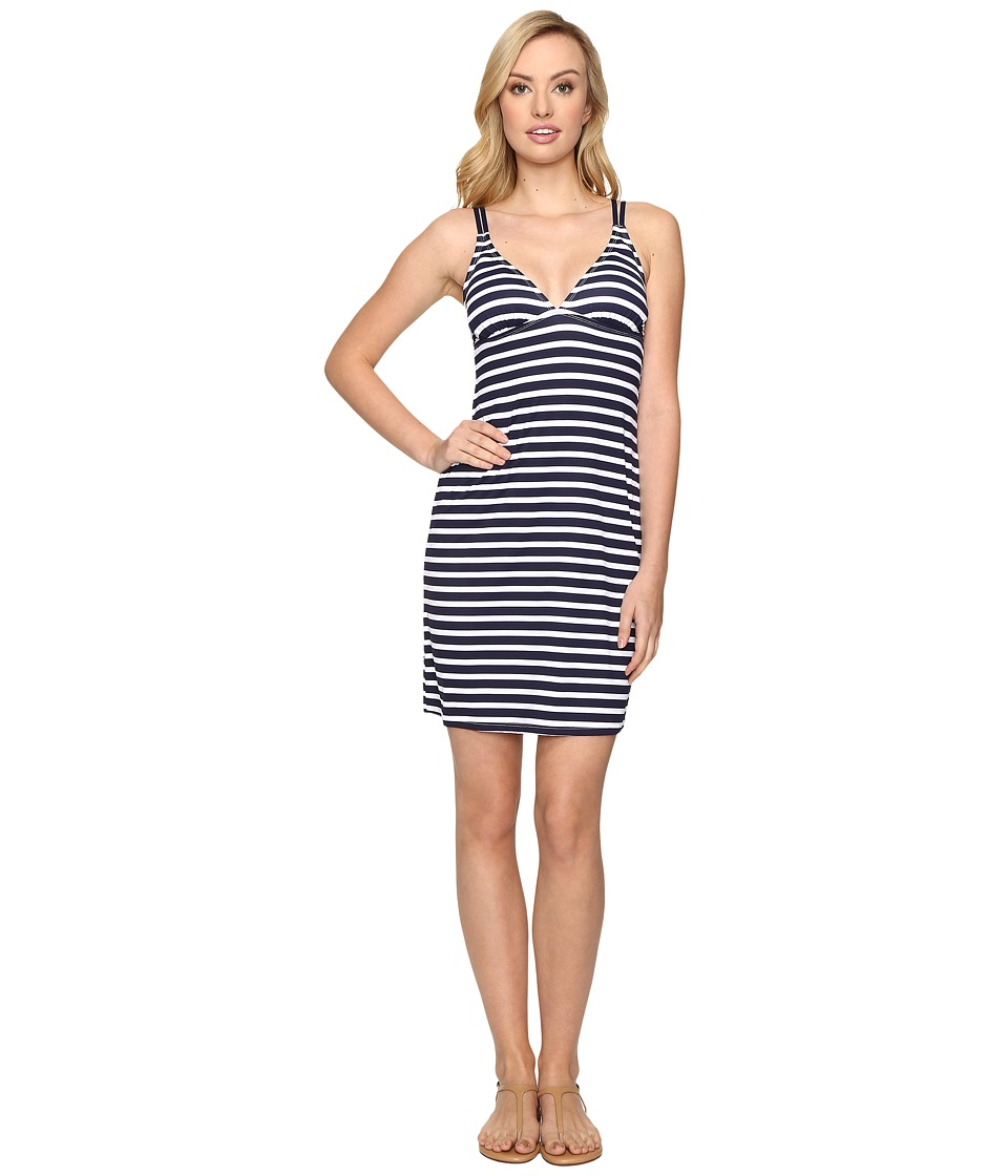 Tommy Bahama Breton Stripe Double Strap Swim Dress Cover-Up (Mare Navy/White)