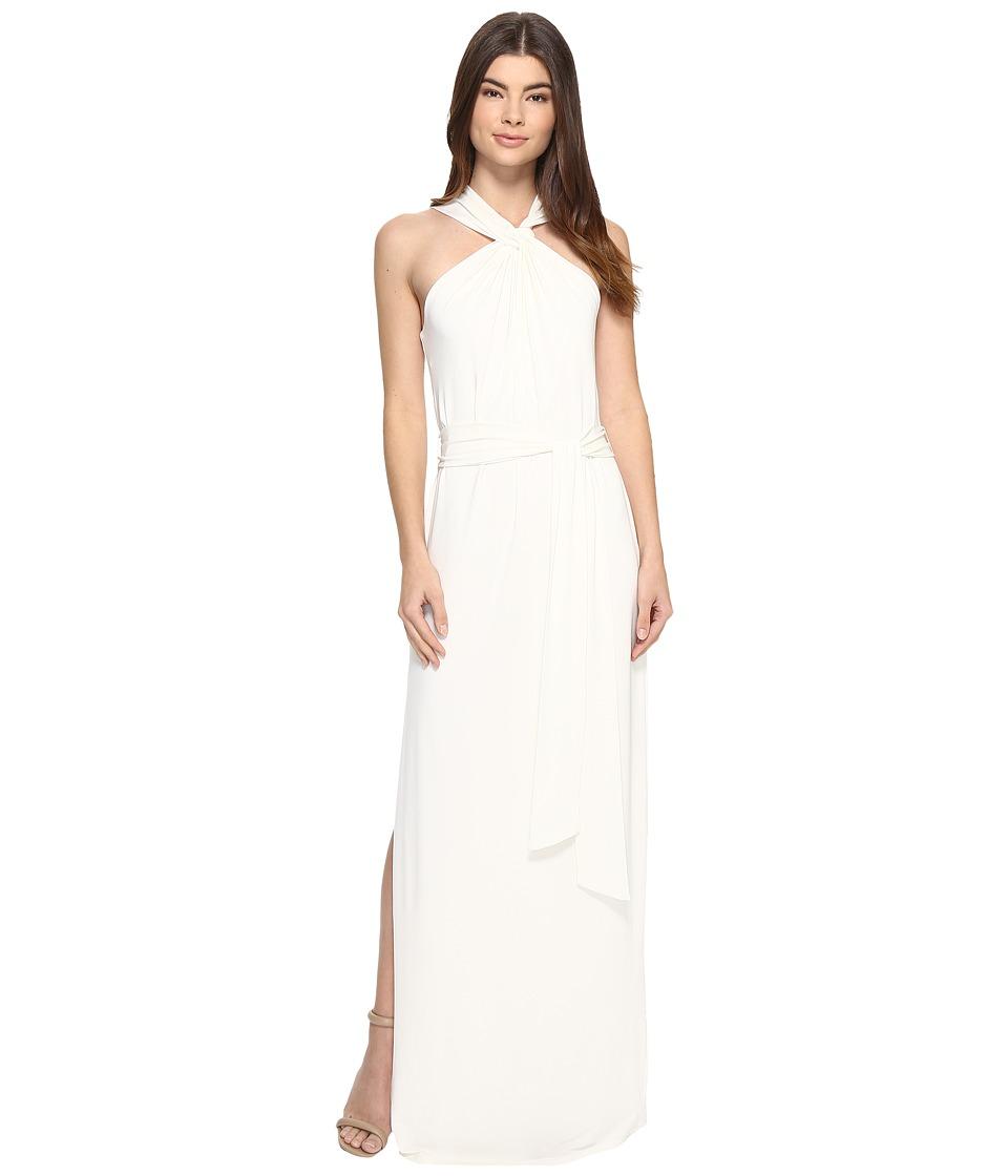Halston Heritage - Sleeveless Knot Drape Neck Jersey Gown w/ Sash