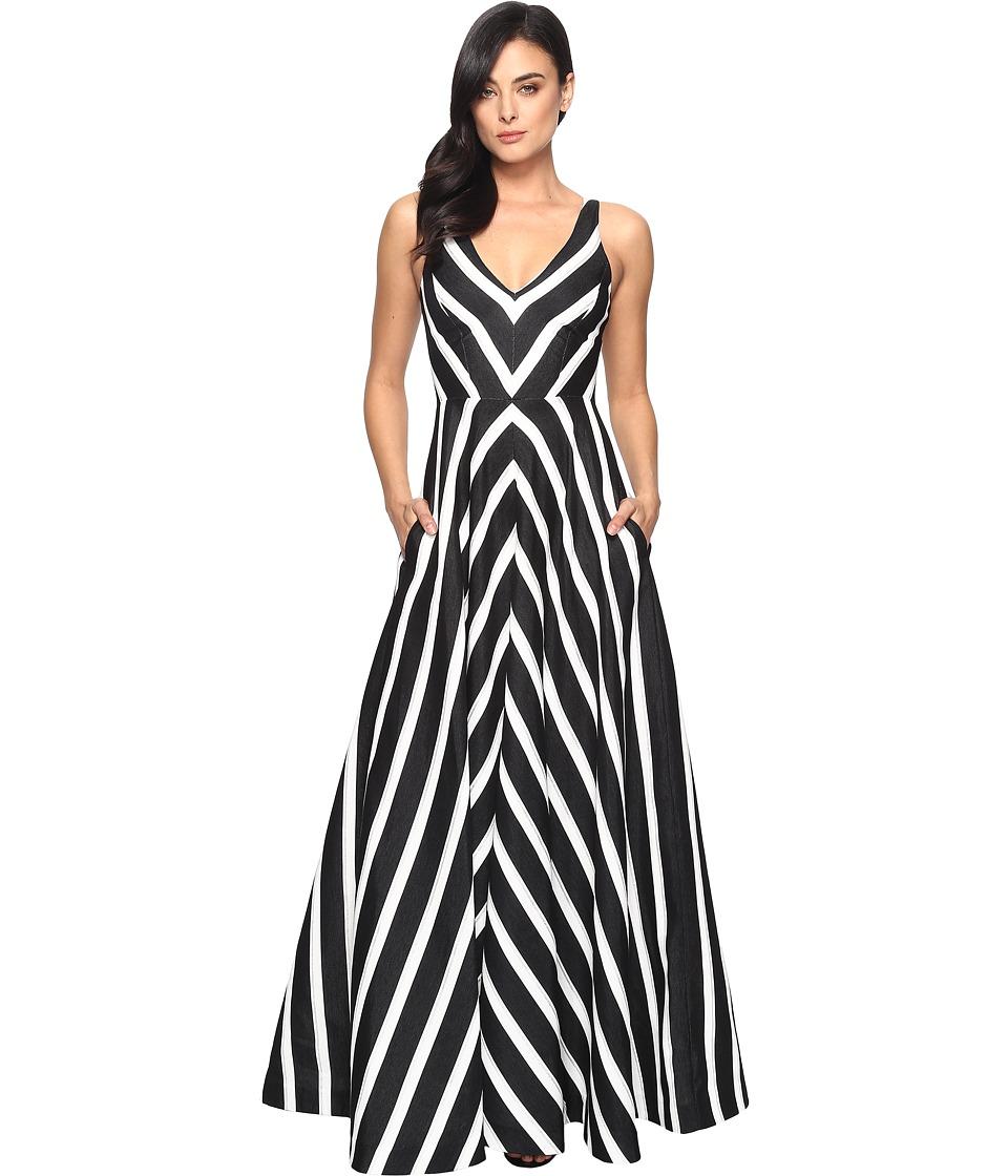 Halston Heritage Sleeveless V-Neck Striped Jacquard Gown (Black/Chalk/Metallic Stripe) Women