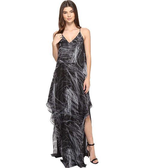 Halston Heritage Sleeveless Cami Flowy Printed Gown - Black Reflections Print