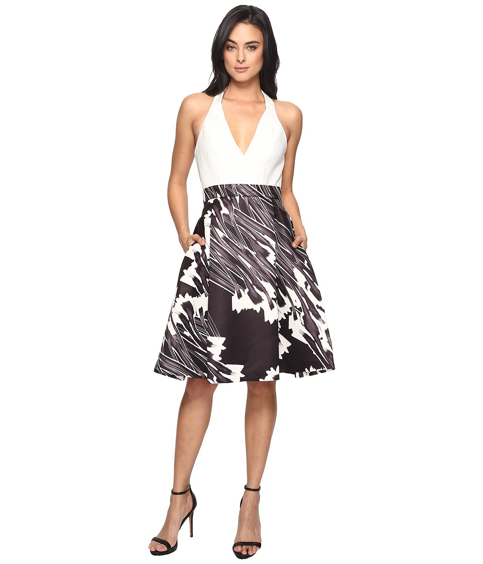 Halston Heritage Sleeveless Halter Neck Print Blocked Dress (Black Crocus Print) Women