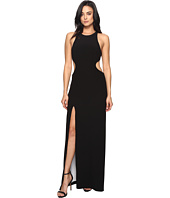 Halston Heritage - Sleeve Long Round Neck Color Blocked Gown w/ Back Cut Out