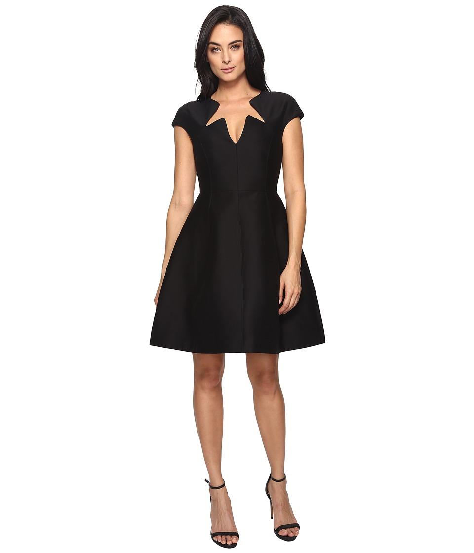 Halston Heritage Cap Sleeve Notched Neck Silk Faille Dress (Black) Women