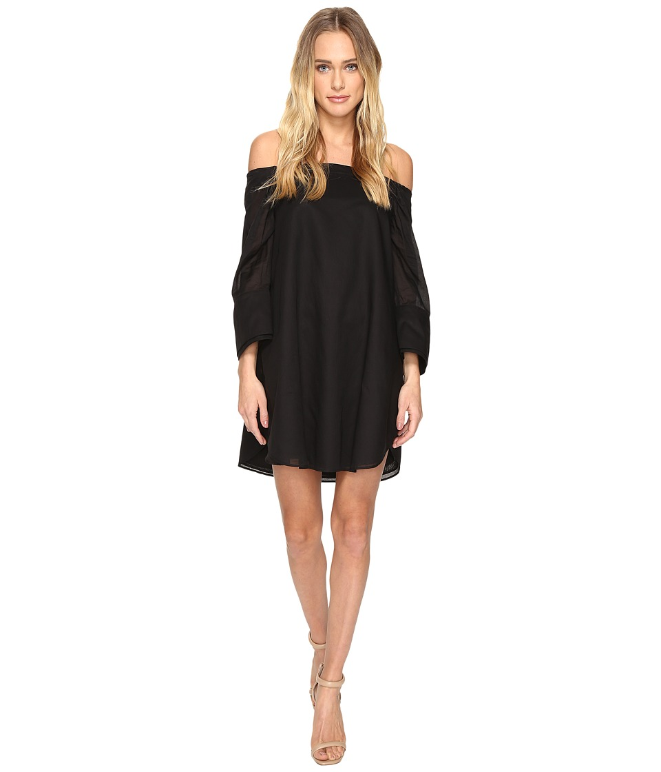 Halston Heritage Wide Long Sleeve Dress w/ Cold Shoulder Detail (Black) Women
